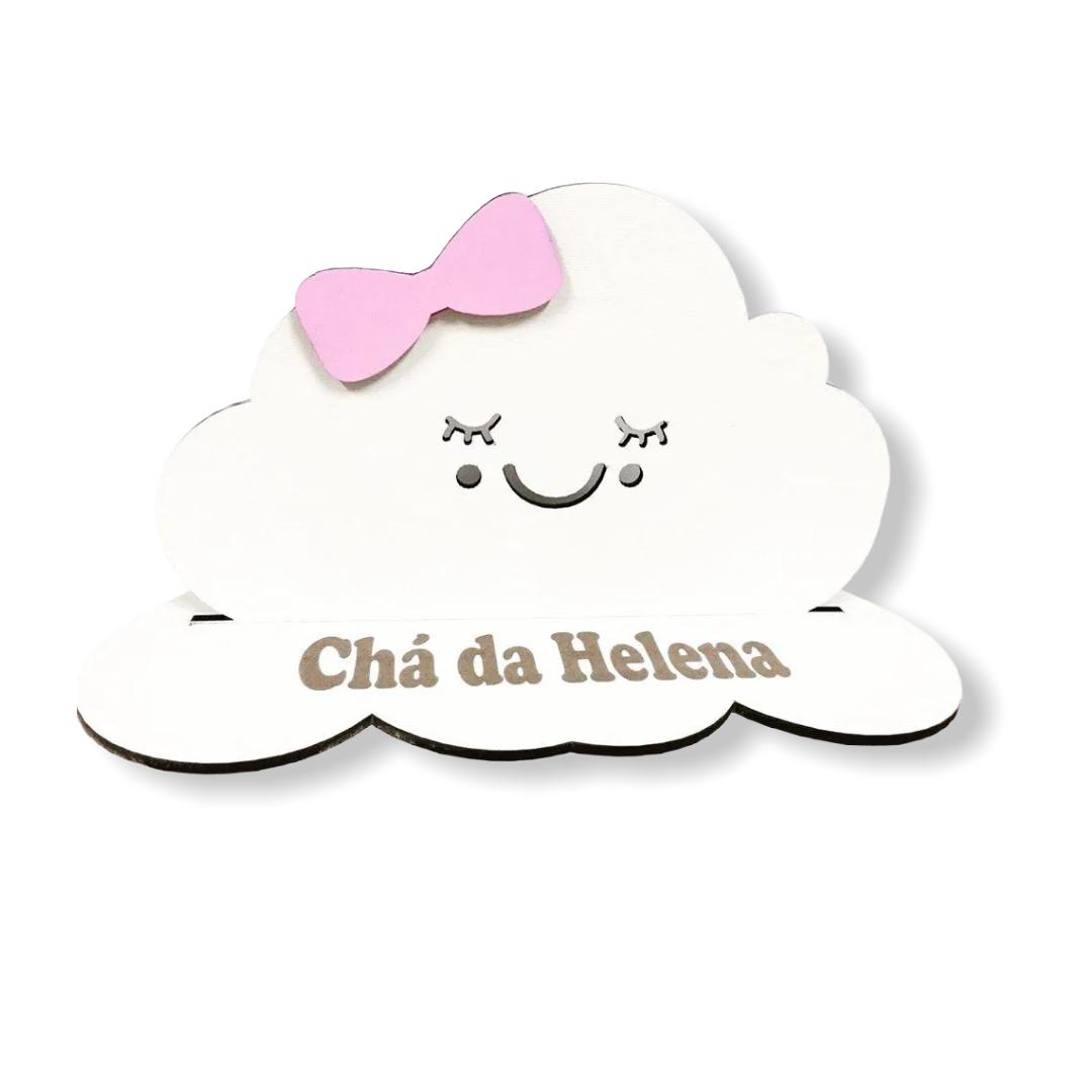 REF. 044 - Kit Centros de Mesa 20cm Nuvem Chuva de Amor Lacinho Rosa MDF Branco