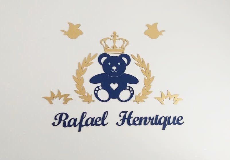 Ref. 108 - Kit Painel de Parede MDF Urso Príncipe Coração - Urso e Nome Azul Marinho com dourado