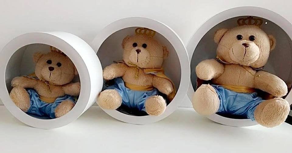 Trio de Nichos modelo redondo + Pelúcias Urso Príncipe