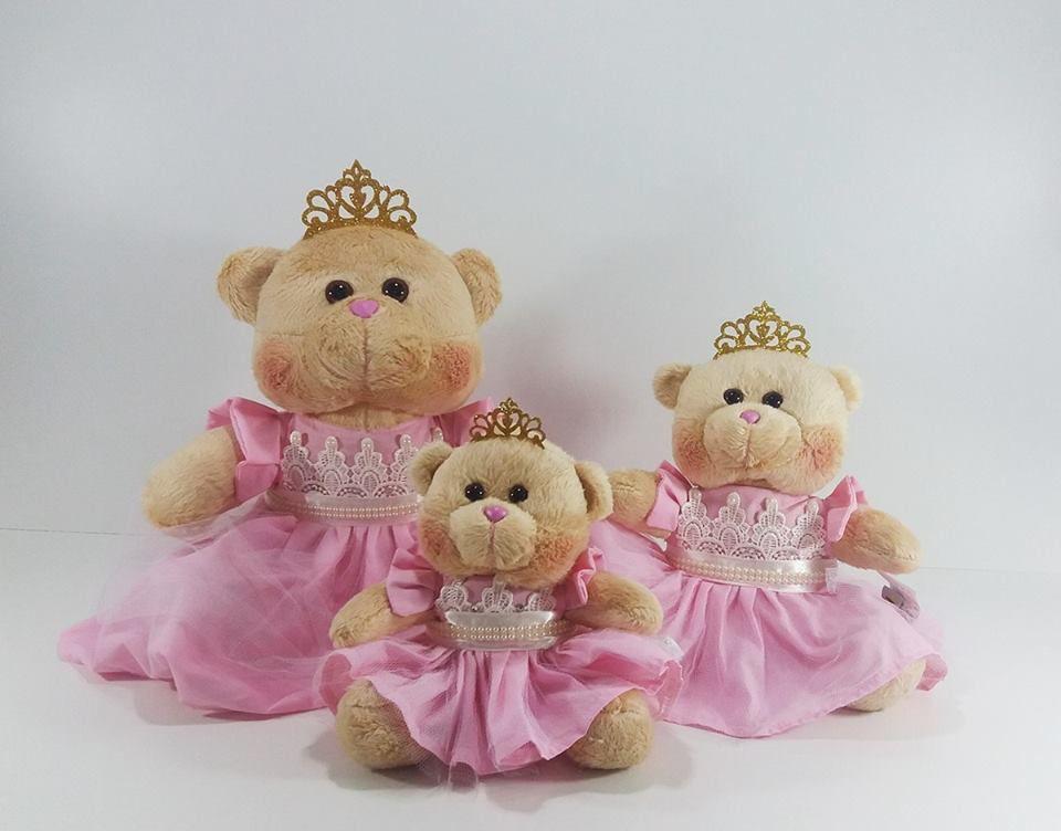 Trio de Pelúcias Ursa Princesa para Nichos Quarto do Bebê