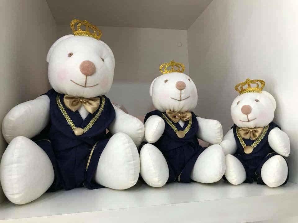 Trio de Pelúcias Urso Príncipe Brancos para Nichos Quarto do Bebê