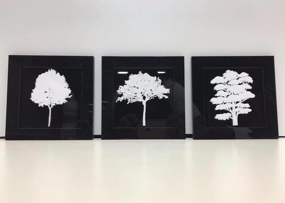 Trio De Quadros Árvores Em Acrílico 30cm