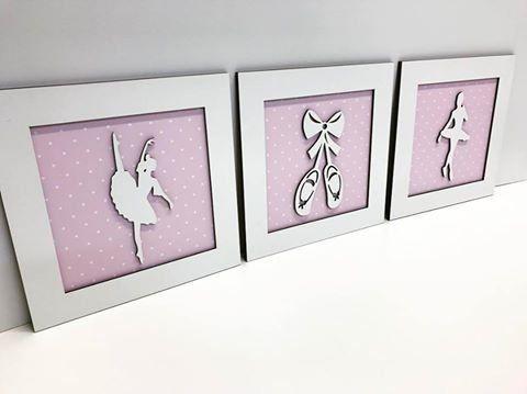 Trio de Quadros Bailarinas Decoração