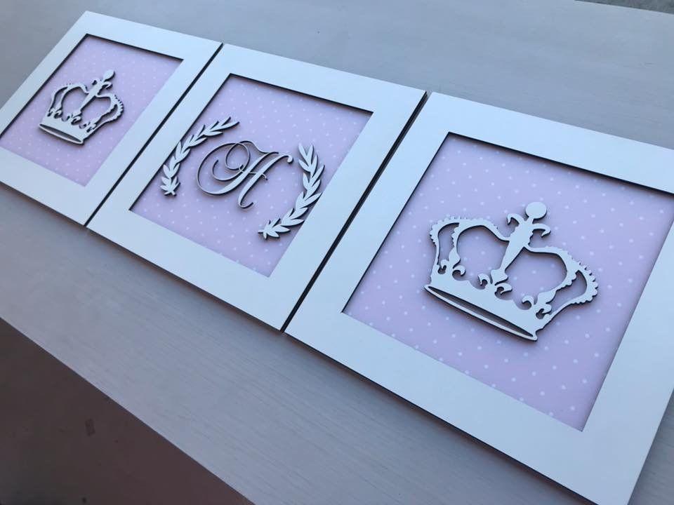 Trio de Quadros Coroa e Inicial