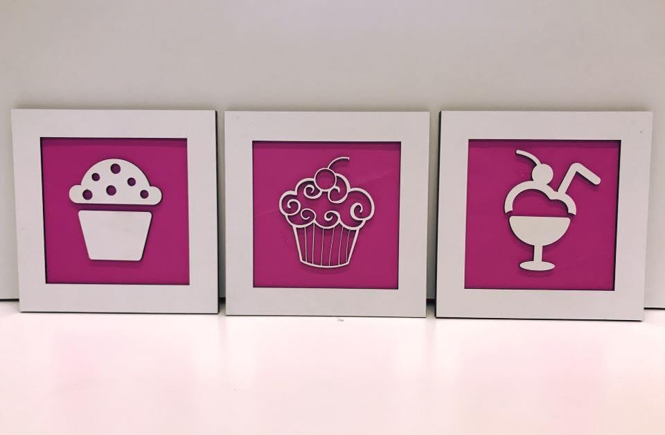 Trio de Quadros Cupcake Decoração