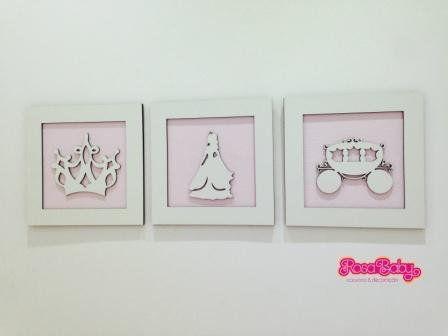 Trio de Quadros Princesa Carruagem Decoração
