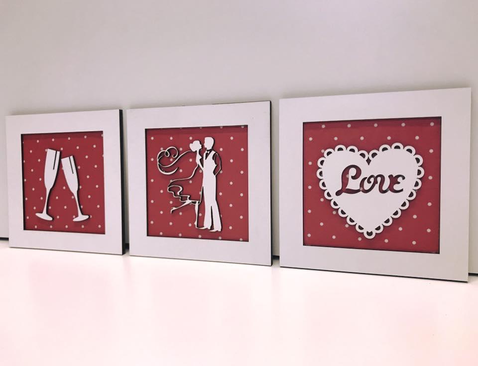 Trio de Quadros Taças Noivos Coração love