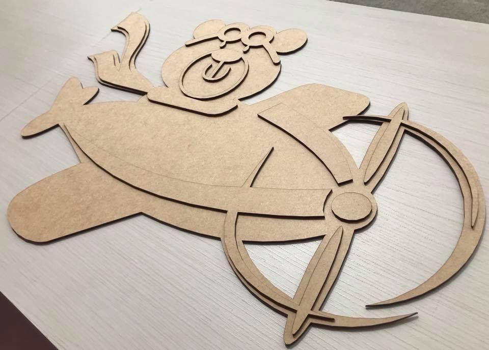 f359df39a Urso Aviador em MDF para Decoração 50CM Quarto Infantil MDF Cru ou Branco -  Rosa Baby Decorações para o Quarto do Bebê
