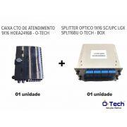 Caixa CTO 1x16 HOEA2416B + Splitter Box Optico 1x16 SC/UPC LGX SPL116BU