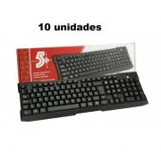 Kit 10 unid. Teclados USB Office Preto 015-0041 CHIPSCE