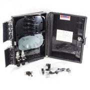 Kit: 1 Caixa CTO Óptico FTTH + 1 Splitter 1x16 SC/UPC + 16 Adaptadores Simplex SM - SC / UPC