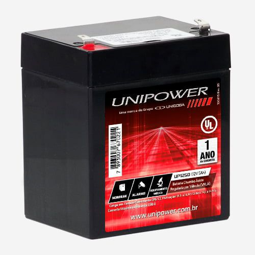 Bateria Selada 12V Nobreak Alarme 5Ah UNIPOWER UP1250