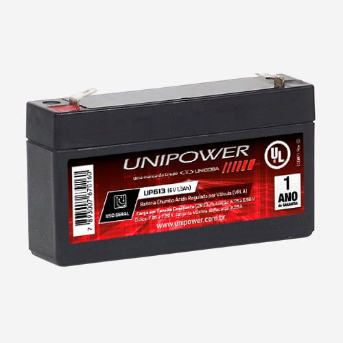 Bateria Selada 6V 1.3AH F187 UP613 OC 06B033 Unipower