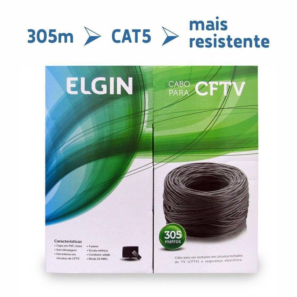 Cabo CFTV cat5 caixa com 305 metros cinza Elgin