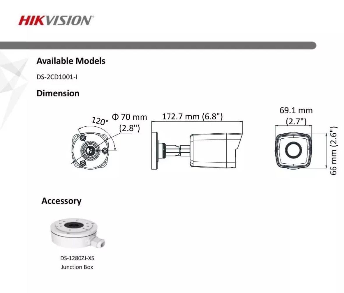Câmera IP Bullet 1Mp 2.8mm DS-2CD1001-I Hikvision