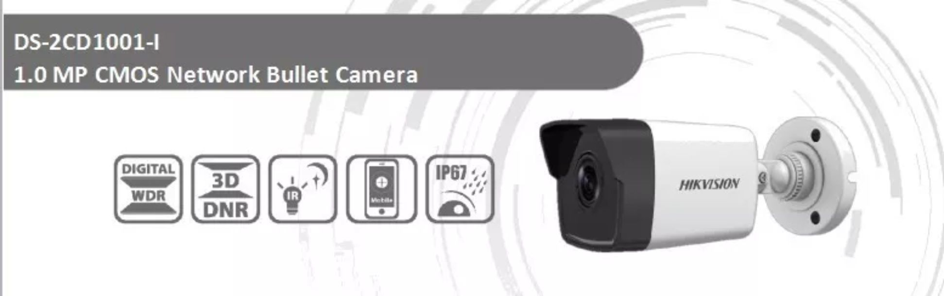 Câmera IP Bullet 1Mp 2.8mm DS-2CD1001-I Hikvision