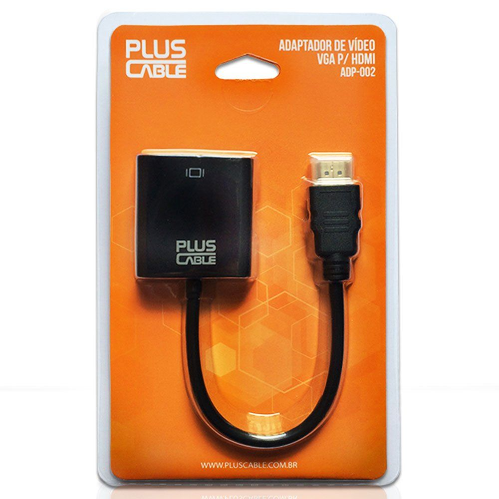 Conversor Adaptador VGA Femea para HDMI Macho ADP-002BK Pluscable