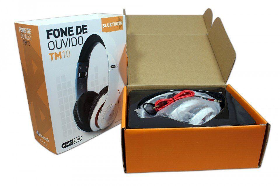 Fone de Ouvido Bluetooth Entrada SD, Rádio FM Branco Hardline TM-010