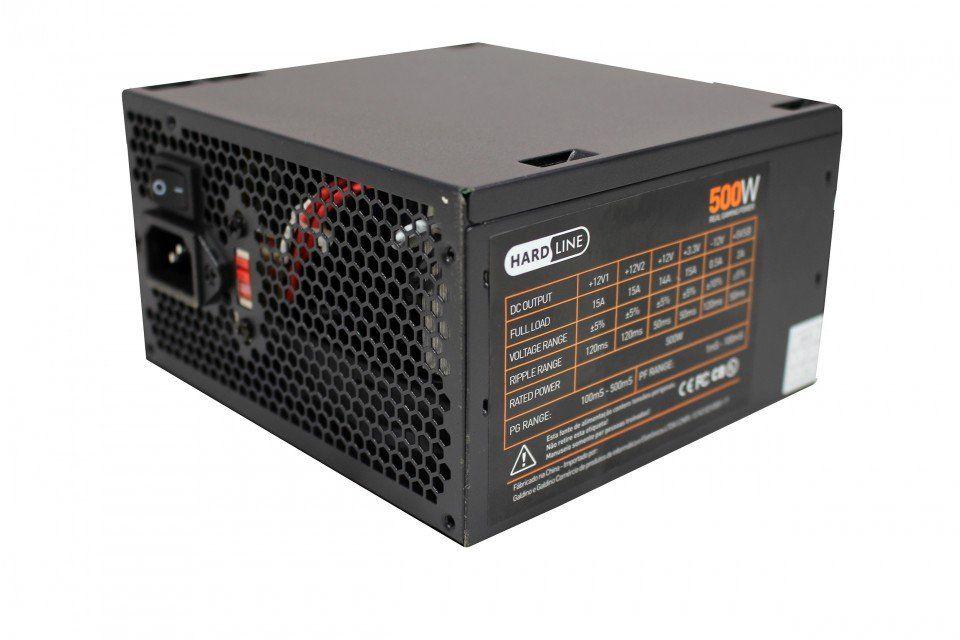 Fonte Game ATX 500W Real PFC Ativo Bivolt Chaveada Hardline PS500W