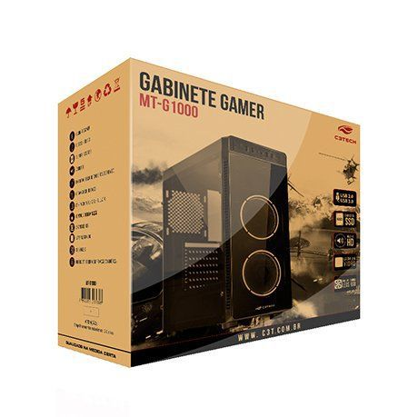 Gabinete Gamer Lateral Vidro 2 Cooler RGB MT-G1000BK C3Tech