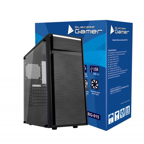 Gabinete Gamer USB 3.0 Frontal Lateral Transparente Bluecase BG-015 Preto