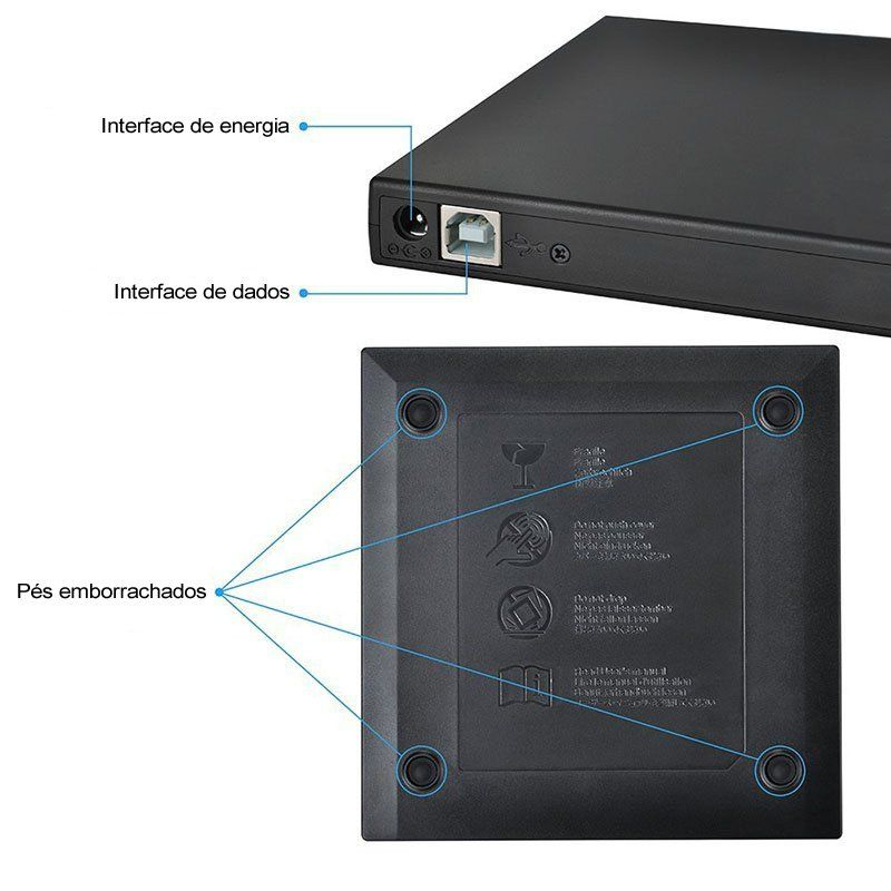 Gravador CD e DVD Slim Externo USB Faster FGDE81
