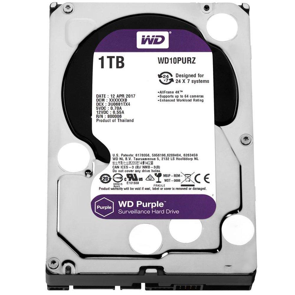 HD 1TB Wd Purple Sata 64MB Segurança Surveillance Intellipower WD10PURZ-85U8XY0