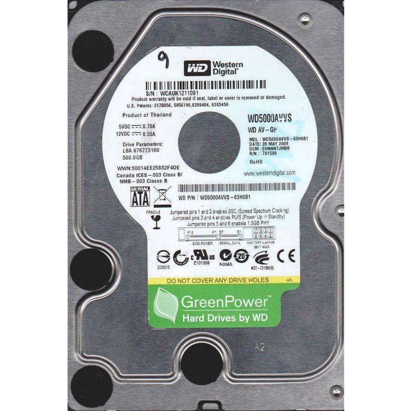 HD Sata2 500GB 7200RPM WESTERN DIGITAL WD5000AVVS