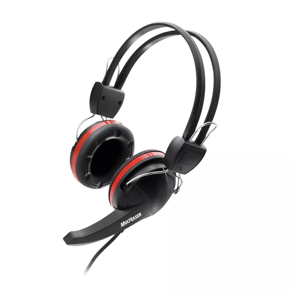 Headphone Anatômico Crab Preto e Vermelho Multilaser PH042