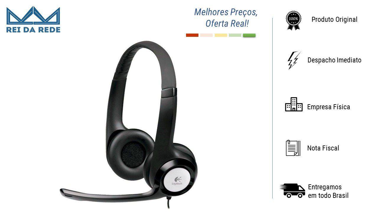 Headset Usb 2.0 Logitech H390 Preto/Prata