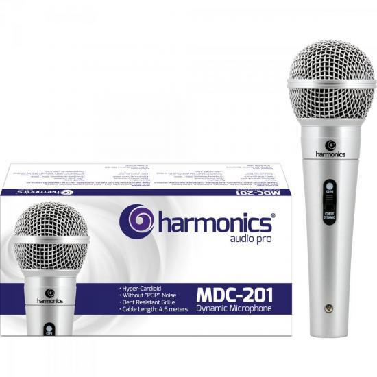 Microfone Dinâmico Supercardióide cabo 4,5m MDC201 Prata Harmonics