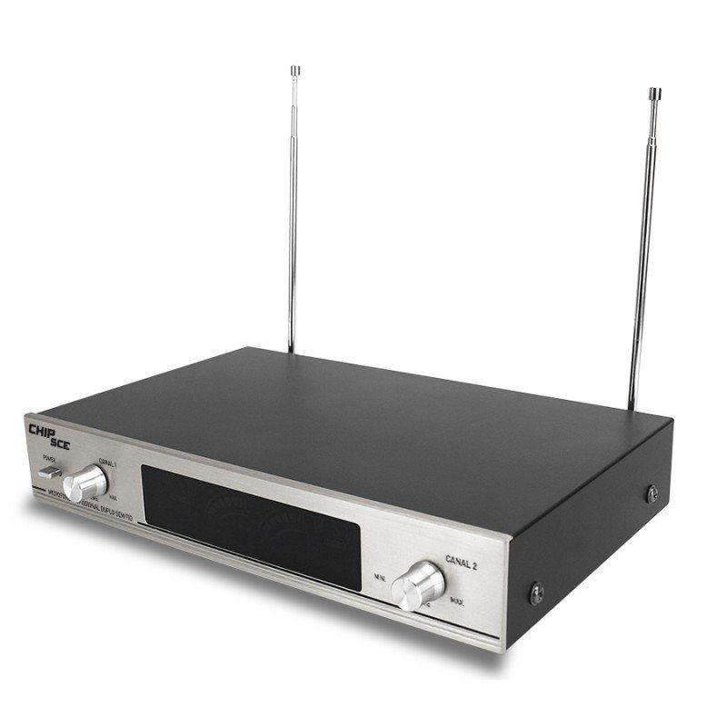 Microfone Profissional Duplo Sem Fio VHF SC 3771 CHIPSCE