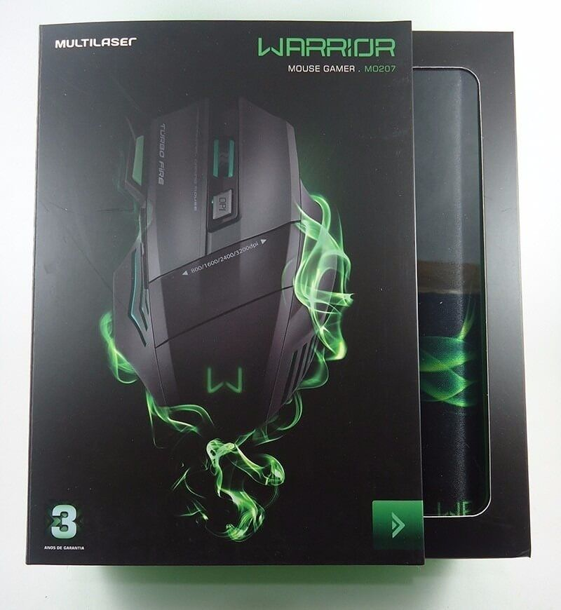 Mouse Gamer Warrior 3200dpi com Mousepad MO207 Multilaser
