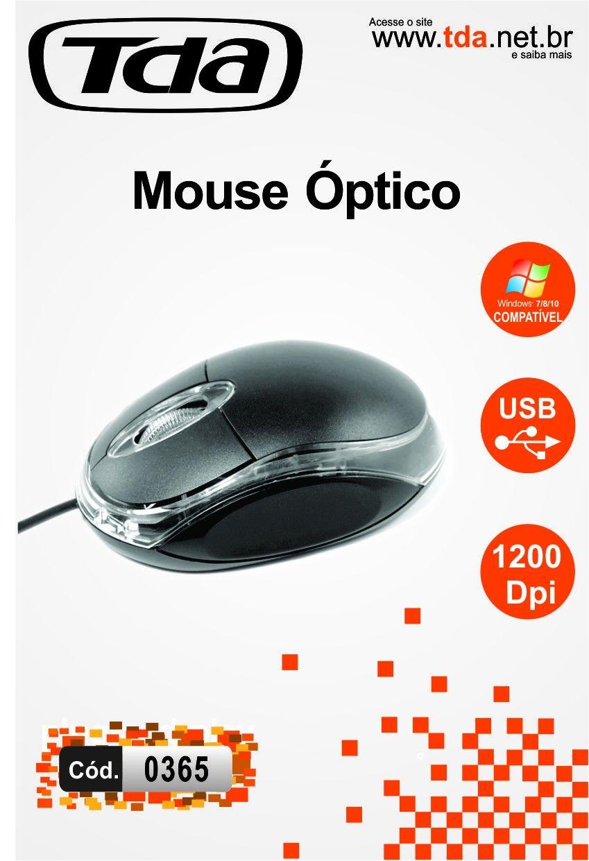 Mouse Óptico 1200dpi USB Preto TD-C1200D