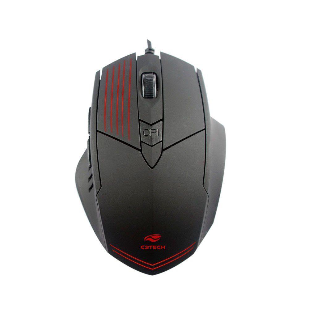 Mouse Ótico Gamer 2400dpi Preto com Iluminação MG-10BK C3Tech