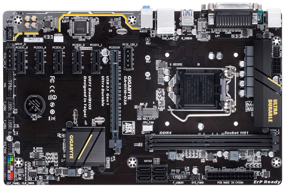 Placa Mãe Gigabyte GA-H110-D3A LGA 1151 DDR4 6 Slots Pci Express Mining