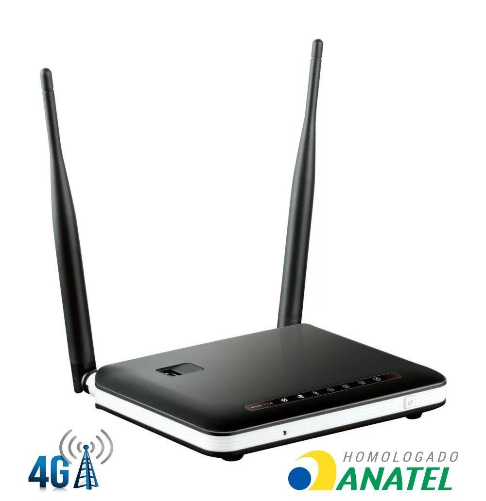 Roteador Wireless 4G e 3G 300MBPS D-Link DWR-116 2 Antenas