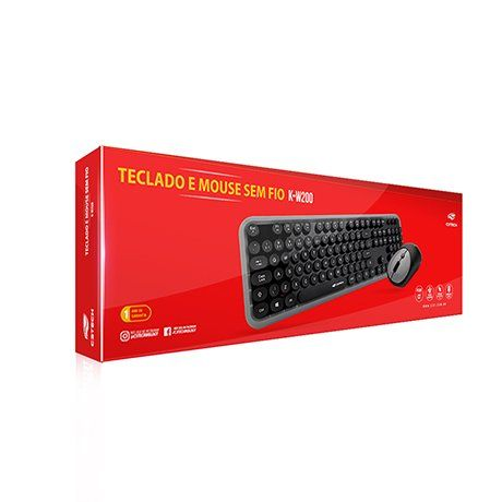 Teclado e Mouse Sem Fio Anti-Respingos Preto K-W200BGY C3tech