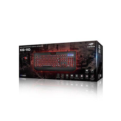 Teclado Gamer com Iluminação Macro e Anti-Ghosting Preto C3tech KG-110BK