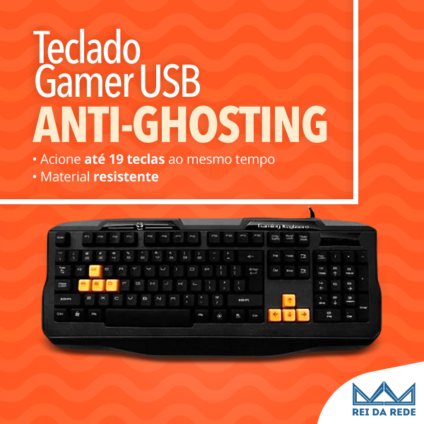 Teclado Gamer USB Anti-Ghosting Cabo Nylon Base Metal C3TECH KG-03BK