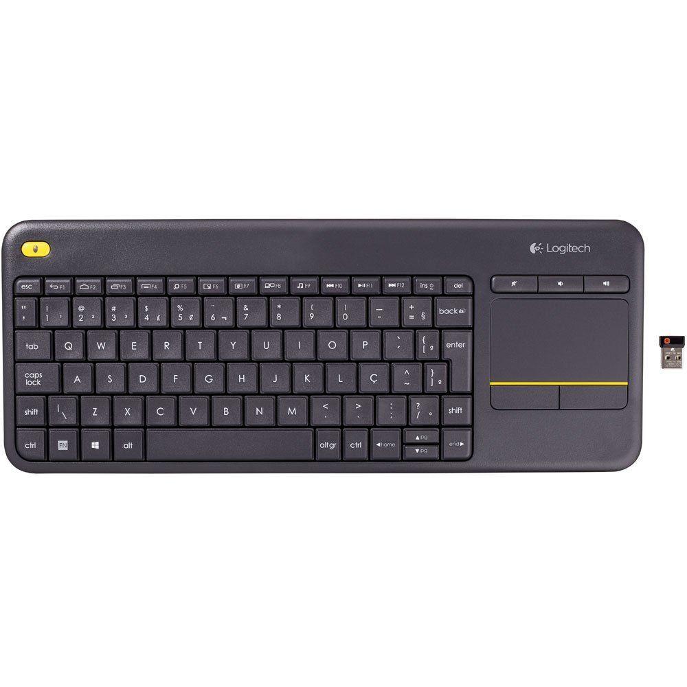 Teclado e Mouse Touch sem Fio p Smart TV e PC Logitech K400 Plus