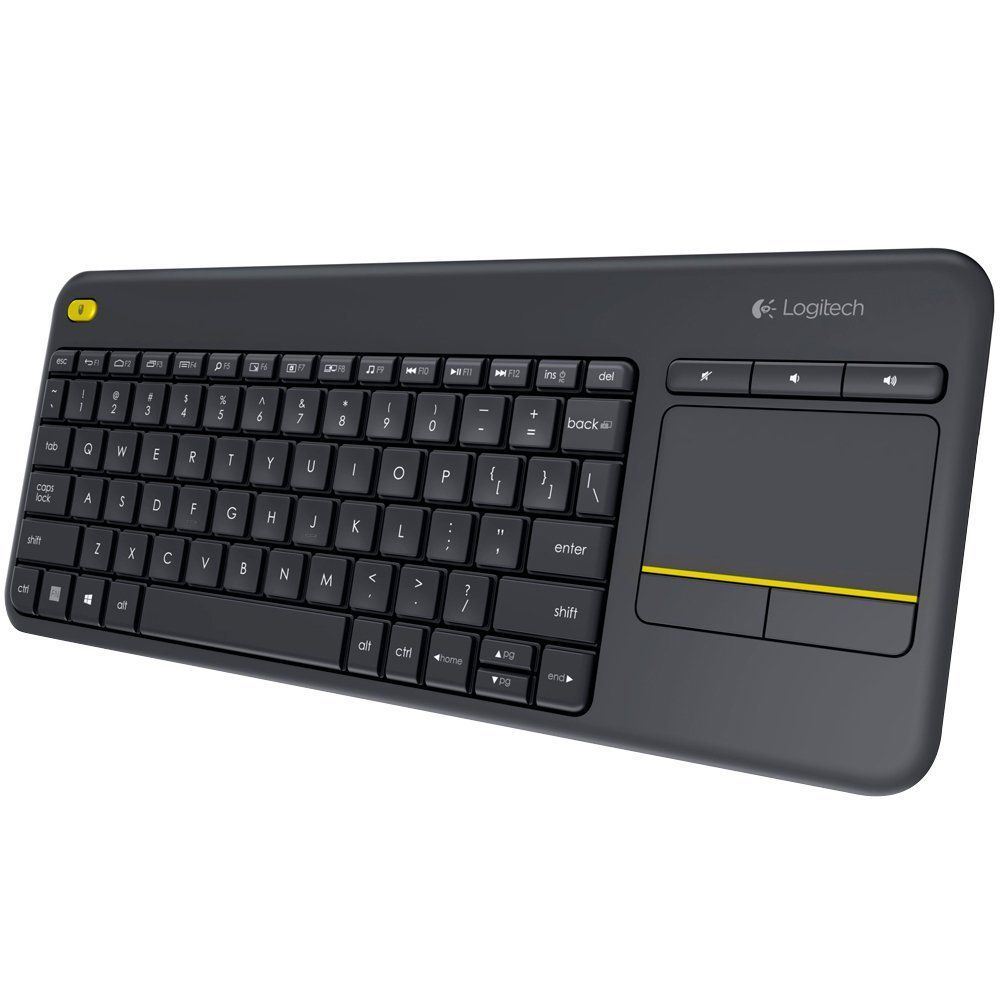 Teclado e Mouse Touch sem Fio p Smart TV e PC Logitech K400 Plus