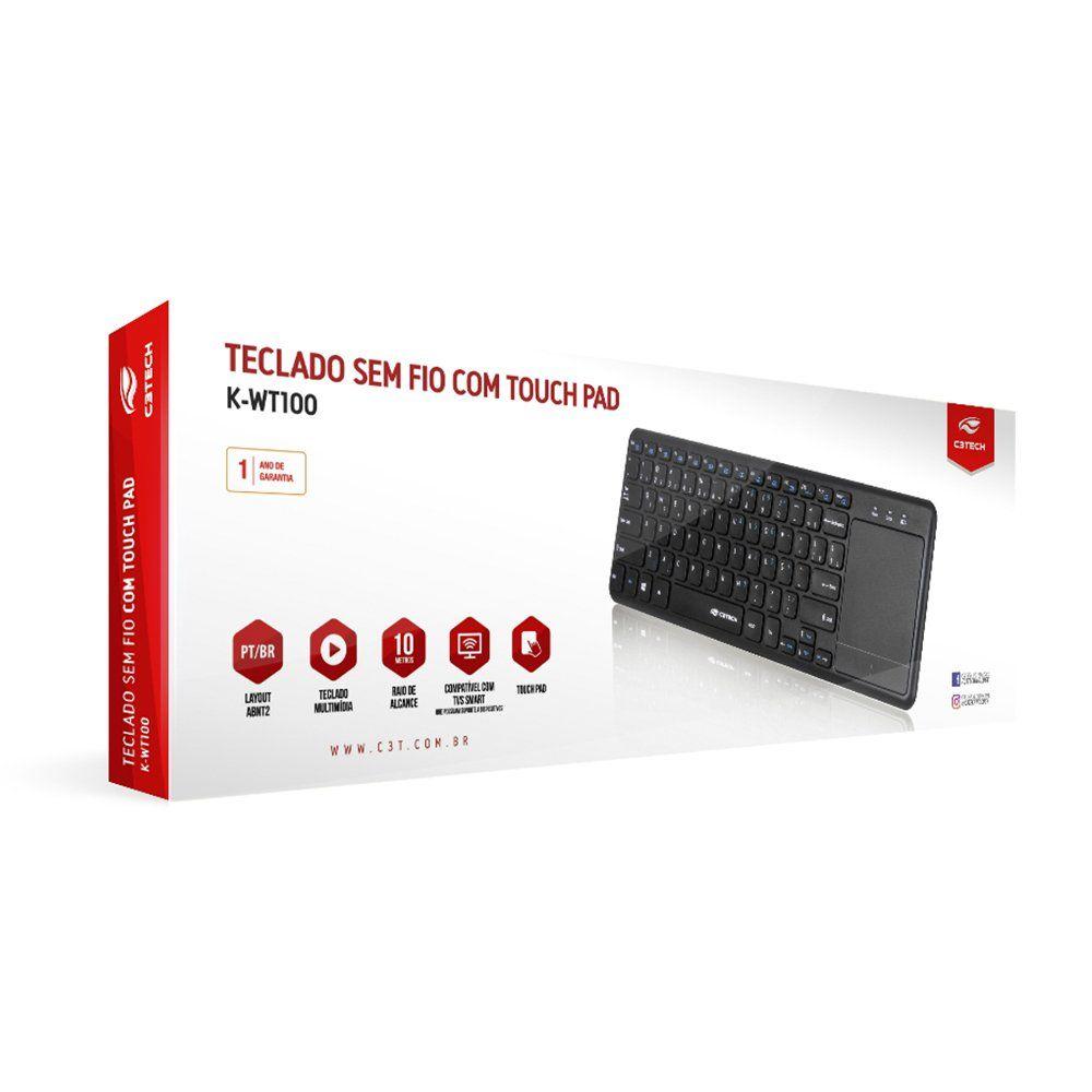 Teclado sem Fio com Mouse Touch p Smart Tv e Pc K-WT100BK C3Tech