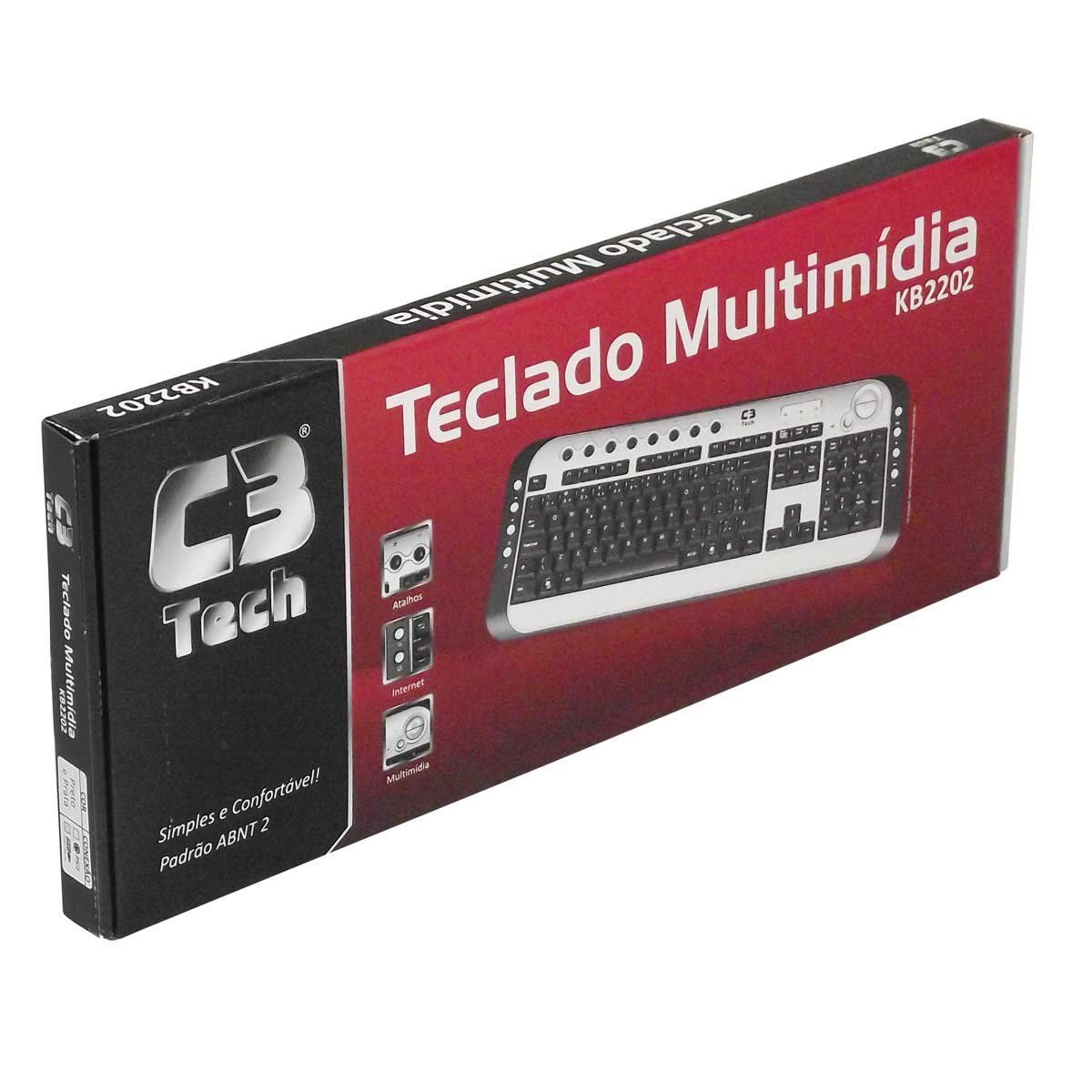 Teclado USB Multimídia Slim Preto C3tech KB2202-2 BK