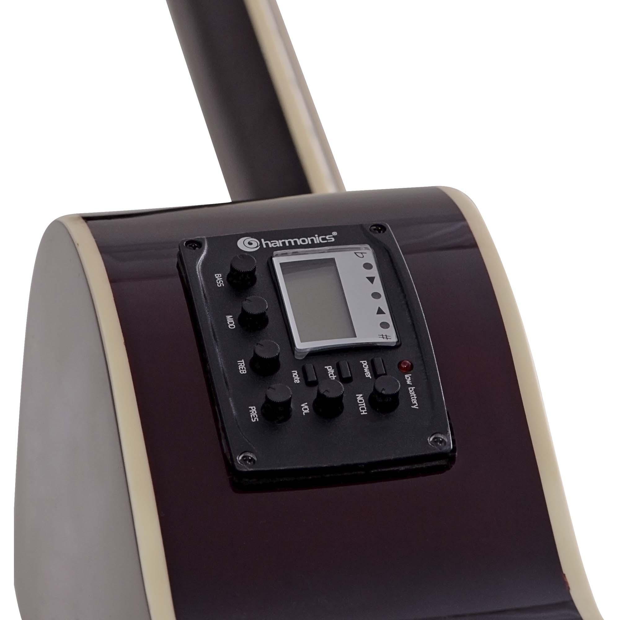 Violão Eletroacústico Cutaway Aço GE-21 Natural Ativo com Afinador HARMONICS