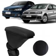 Encosto Descanso Apoio de Braço Volkswagen Gol Voyage Porta Objetos Couro Preto Courvin C/Costura