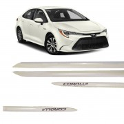 Friso Lateral Corolla Branco Perolizado C/Escrita Cromada Modelo 2020 Original