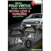 Kit Farol Milha Polo Virtus 2019 2020 Milha DRL Seta Moldura Preta e Botão Original