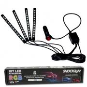 Kit Led Atmosfera RGB Shocklight Com Controle 4 Barras 12 Led