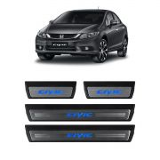 Kit Soleira de Porta C/ LED Civic 2012 a 2016 Inox Iluminada